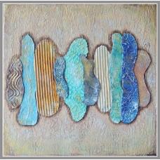 """Tablou abstract pictat culori acrilice """"Imbrătisari"""""""