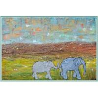 tablou peisaj cu elefanți, unicat, pictat manual pe panza