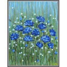 """""""Albăstrele"""" - Tablou cu flori - Tablou unicat, pictat manual pe panza - Compozitii"""