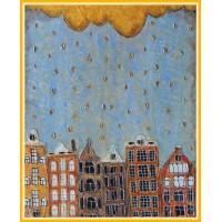 """Amsterdam, sub ploaie de aur…""20-0121 - Tablou unicat, pictat manual in original pe panza - Compozitii"