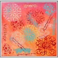 Tablou abstract ornamental, pictat manual pe panza