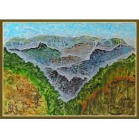 """Ceata, printre creste...""- tablou peisaj montan20-0291 - Tablou unicat, pictat manual in original pe panza - Compozitii"