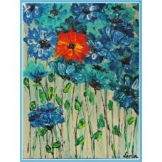 """""""Contrast"""" - Tablou cu flori - Tablou unicat, pictat manual pe panza - Flori"""
