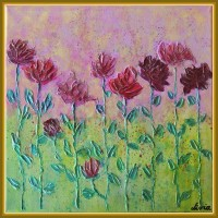 tablou cu flori - tablou pictat manual, pe panza, unicat