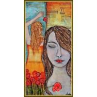 """Fata din vis"" - Tablou pictat manual, pe panza"