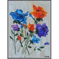 """Flori"" - Tablou cu flori - Tablou unicat, pictat manual pe panza - Flori"