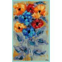 """""""Un buchet de flori, cu dragoste""""- Tablou cu flori pictat manual pe panza, cu cuțitul de pictura"""