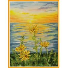 """""""Flori galbene, la apus"""" - tablou cu flori"""