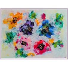 """""""Flori invelite in vată de zahăr""""- tablou cu flori"""