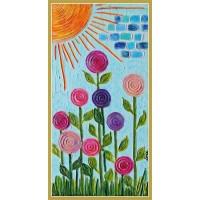 """""""Flori răsfățate de soare""""- Tablou cu flori stilizate20-0285 - Tablou unicat, pictat manual in original pe panza - Flori"""
