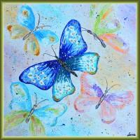 """Fluturi delicati""20-0189 - Tablou unicat, pictat manual in original pe panza - Compozitii"