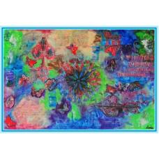 """Fluturi, printre lucruri""20-0130 - Tablou unicat, pictat manual in original pe panza - Abstracte"