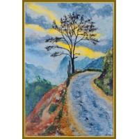 """Amurg Solitar"" - tablou cu peisaj montan - Tablou unicat, pictat manual pe panza - Peisaje"