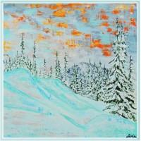 Tablou peisaj montan de iarna