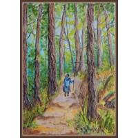 """""""In padure...""""-Tablou peisaj20-0289 - Tablou unicat, pictat manual in original pe panza - Peisaje"""