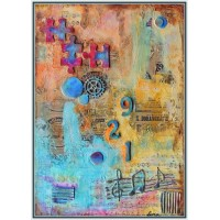 """Intre art si stiinte exacte"" - Compozitie20-0074 - Tablou unicat, pictat manual in original pe panza - Compozitii"