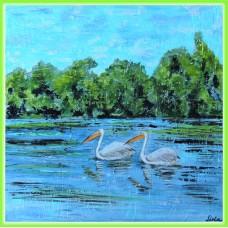"""La pescuit"" - tablou cu pelicani in Delta"