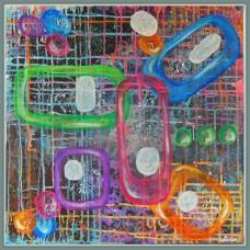 """Legaturi""-tablou abstract20- 299.2 - Tablou unicat, pictat manual in original pe panza - Abstracte"