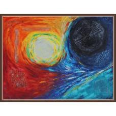 """Lupta dintre noapte si zi""- Tablou abstract20-0279 - Tablou unicat, pictat manual in original pe panza - Abstracte"