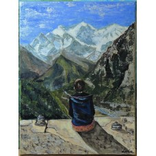 """Meditatie la inaltime"" - tablou original cu peisaj montan"