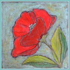 """""""O floare roșie pentru...ea""""-Tablou cu o floare"""