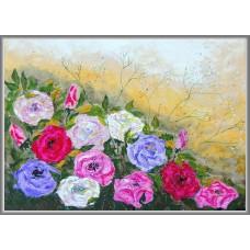 """""""Parfum de roze"""" - Tablou cu flori - Tablou unicat, pictat manual pe panza - Compozitii"""