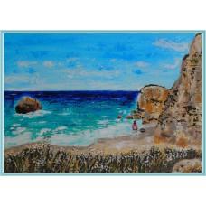 """""""Pe plajă"""" - tablou peisaj cu marea"""