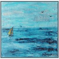 """Pe valurile marii""20-0062 - Tablou unicat, pictat manual in original pe panza -"