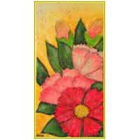 """Pink20-287 - Tablou unicat, pictat manual in original pe panza - Flori"