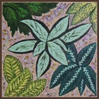 """Plante ornamentale""-  Tablou cu flori20-0296 - Tablou unicat, pictat manual in original pe panza - Flori"