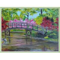 """Primavara in parc"" - tablou peisaj20-0046 - Tablou unicat, pictat manual in original pe panza - Peisaje"