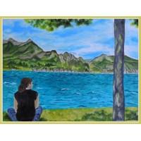"""Tablou cu peisaj aquatic montan - """"Relaxare lângă lacul Como"""""""