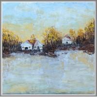 tablou pictat manual pe panza, peisaj cu toamna la tară