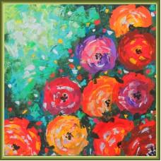 """Un buchet de optimism"" - Tablou cu flori20-0200 - Tablou unicat, pictat manual in original pe panza - Flori"