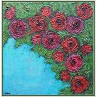 """Un buchet de pasiune"" - tablou cu flori20-0056 - Tablou unicat, pictat manual in original pe panza - Flori"