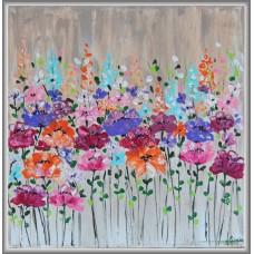 Tablou cu flori de camp pictat  manual pe panza