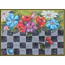 """Yin si Yang""- tablou cu flori, unicat, original, pictat manual pe panza"