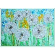 """Tablou peisaj cu flori - """"Zi de vară printre păpădii"""" - tablou pictat manual pe pânză"""