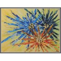 Tablou cu flori, pictat manual pe panza in culori acrilice