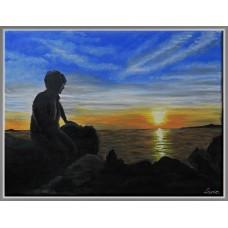 Tablou peisaj la marea Egee pictat manual, pe panza, unicat