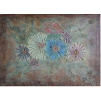 Tablou cu flori. Tablou unicat, pictat manual pe panza - Abstracte