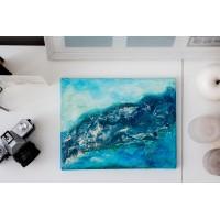 Apa si cer - Tablou unicat, pictat manual pe panza - Abstracte