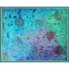 tablou abstract pictat manual pe panza