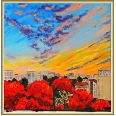 Apus de soare in Bucuresti20-0401 - Tablou unicat, pictat manual in original pe panza - Peisaje