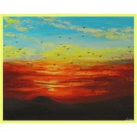 Apus de soare, peste dealuri...21-0754 - Tablou unicat, pictat manual in original pe panza - Peisaje