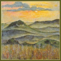 Peisaj - 'Apus de soare printre dealuri'