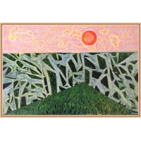 """Tablou unicat, pictat manual pe panza.Tablou abstract """"Apus de soare"""""""