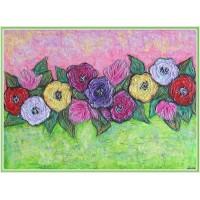 """Brau de flori""20-0085 - Tablou unicat, pictat manual in original pe panza - Flori"