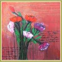 tablou cu flori, pictat manual, unicat. Pictură pe pânză