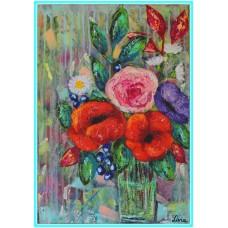 Bucurie21-0889 - Tablou unicat, pictat manual in original pe panza - Flori
